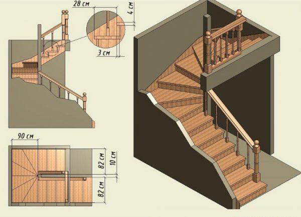 что собой представляет лестница с забежными ступенями