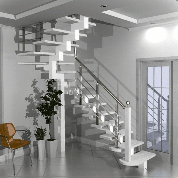 проект лестницы на центральном косоуре