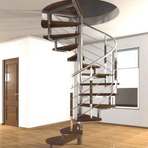 проект винтовой лестницы в центре комнаты